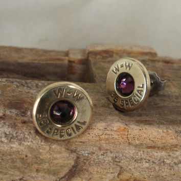 Bullet  Earrings  Februrary Birthstone  Amethyst by ShellsNStuff