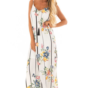 Ivory Floral and Striped Sleeveless Dress with V Neckline