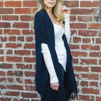 Navy Solid Color Shawl with Armholes