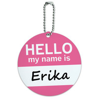 Erika Hello My Name Is Round ID Card Luggage Tag