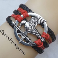 Hunger inspired games jewelry,catching fire,Mockingjay pin bracelet,Adjustable Bangle with Extended Chain, Best Fashion Jewelry Gift