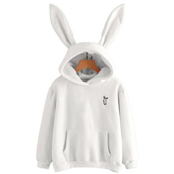 Lovely Rabbit Hoodie White Ears Harajuku Kawaii Sweatshirts Hoodies For Women Loose Streetwear Women Clothes #121