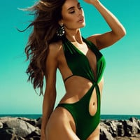 Halter Neck Cut Out Swimsuit Bikini 11639
