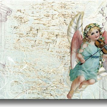 Beautiful Angel Playing Violing Picture on Stretched Canvas, Wall Art Décor, Ready to Hang