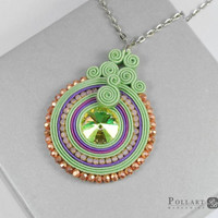 Pistachio soutache pendant, Soutache necklace, Soutache pendant, Green soutache, Green jewelry, Swarovski soutache, Pistachio jewelry