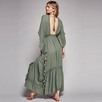 BOHO PEOPLE Plunging Neckline Lace Patchwork Empire High Waist Backless Dresses 2018 Bohemia Flowing Loose Holiday Maxi Dress