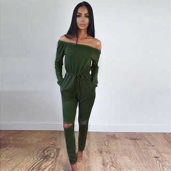 VONE05F8 jumpsuits for Women Elegant high street style elegant long sleeve slash neck off shoulder jumpsuit rompers