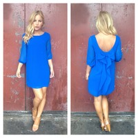 Royal Blue Bow Back 3/4 Sleeve Dress