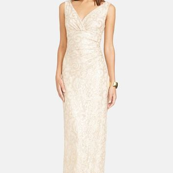 Women's Lauren Ralph Lauren Sequin Lace V-Neck Column Gown