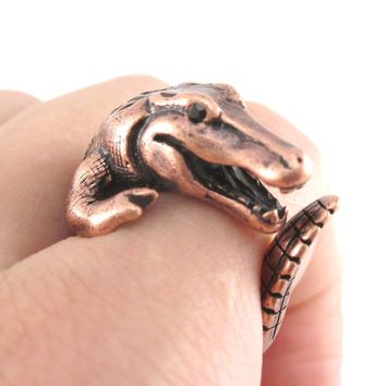 Large Crocodile Alligator Dragon Animal Wrap Ring in Copper | US Size 4 to 9