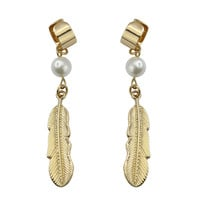 Pearl Feather Earrings  Multi