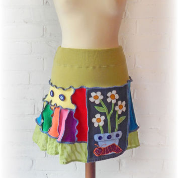 Daisy Rainbow Skirt Upcycled Stretch Flared Funky Folk Festival Hippie Caterpillar Recycled Eco Clothing Wearable Art. Elastic Waist. Small