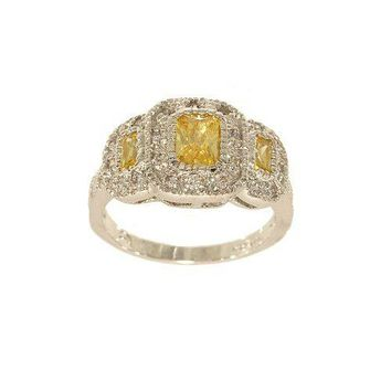 Unbelieveably Fine Silvertone Three Stone Yellow Emerald Cut Fashion Ring with Frames Covered in Flush Mounted Clear Cubic Zirconia