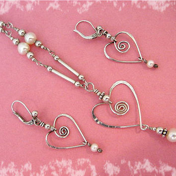 Victorian My Heart In Love - Sterling Silver Heart & Pearl Necklace Earrings Set ~ Ann McKay - Williamsport, Pa Goldsmith