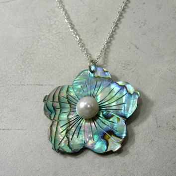 Shell Flower Necklace, Abalone Shell Necklace, Multicolored Flower Necklace, Paua Shell Necklace