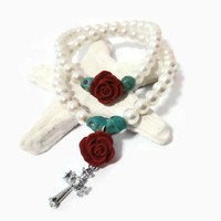Turquoise skulls red rose silver cross pearls bracelet set of 2
