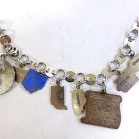 Vintage Sarah Coventry Million Dollar Week Bracelet, Sterling Silver Pennsylvania, Ohio Indiana illinois Nebraska Charms