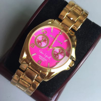MICHAEL KORS Fashion new rose red dial women and men watch Golden
