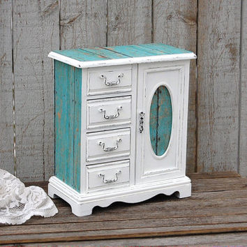 Jewelry Box, Jewelry Armoire, Shabby Chic, Rustic, Beach, Decoupage,  Turquoise