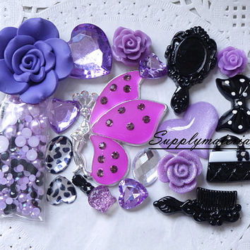 1set Fashion Purple crystal Butterflies resin material kit for deco phone case accessories