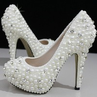 Cinderella's Wish Crystal & Pearl Wedding Shoes