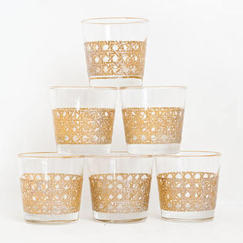 Vintage Libbey Wicker Print Tumblers, SET of 6 Juice Lowball Glasses Woven Pattern, Mid Century Barware