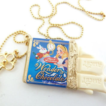 Alice In Wonderland Necklace white Chocolate bar with by shimrita