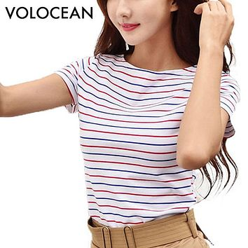 Cotton T-shirt Striped Classic Bottom T-shirts For Women Colorful T Shirt Woman Plus Size Female Top Tee 5XL