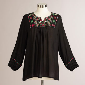 Black Embroidered Mirror Aria Peasant Blouse - World Market