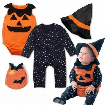 3Pcs Halloween Newborn Baby Toddler Boy Girl Pumpkin Romper Hat Outfits Fancy Costume