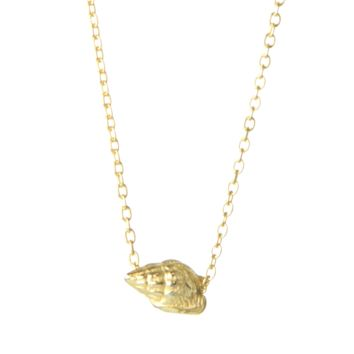 Mini Conch Shell Gold Charm Necklace