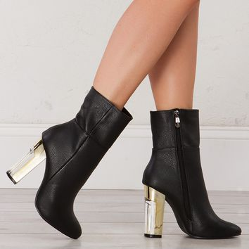 Pleather Bootie With Gold Heel in Black and Off White