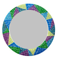 Multicolored Round Mosaic Mirror // Geometric Wall Decor // Sunburst Mirror