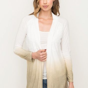 Women's Dip-dye Open Front Cardigan with Lace Trim