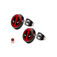 Deadpool Enamel Round Stud Earrings