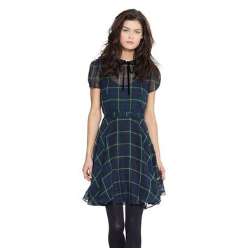European preppy style women dress peter pan collar chiffon dresses A line plaid print casual dress SD2649