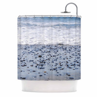 "Nick Nareshni ""Solana Beach Sand Stones"" White Gray Shower Curtain"