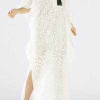 Bcbg Dameka Ruffled Long Kaftan Dress White Evening Dresses SGQ60E84-100