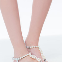 So Presh Faux Pearl Thong Sandals