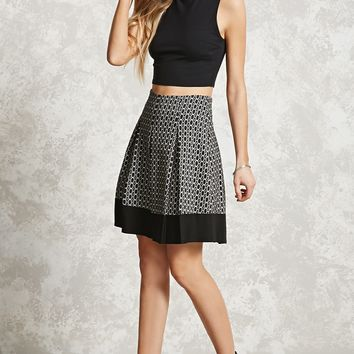 Ornate Print Pleated Skirt