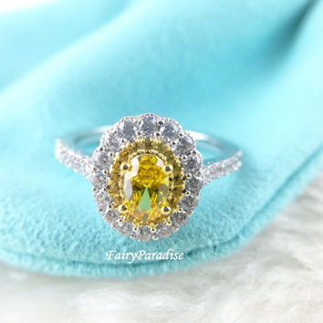Oval Cut Two Tone Double Halo Art Deco Engagement Rings / Promise Ring, 0.8 ct Yellow Oval Cut Man Made Diamond, Vintage Style Alternative