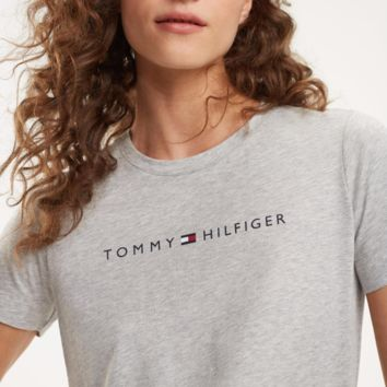 TOMMY HILFIGER 2019 new women's round neck classic LOGO short-sleeved T-shirt grey