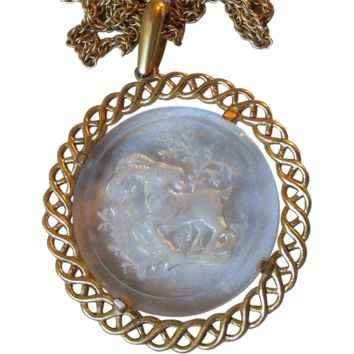 1970's Vintage Crown TRIFARI Glass Pendant ZODIAC Cut Intaglio ARIES The Ram Necklace