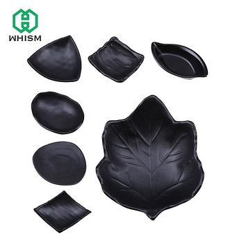 WHISM Creative Black Melamine Japanese Sushi Soy Sauces Dishes Condiment Butter Dish Tableware Snack Saucer Plate Serving Tray