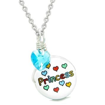 Handcrafted Cute Ceramic Lucky Charm Princess Sky Blue Heart Amulet Pendant 18 Inch Necklace