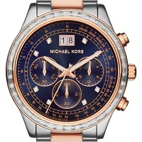 Women's Michael Kors 'Brinkley' Crystal Bezel Chronograph Bracelet Watch, 40mm