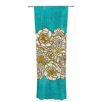 "Pom Graphic Design ""Bohemian Succulents II"" Teal Gold Floral Decorative Sheer Curtain"