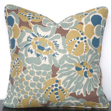 Teal pillow cover 18x18, beige linen pillow case floral decor, tropical sofa cushion, teal and brown pillow with piping, flower cushion