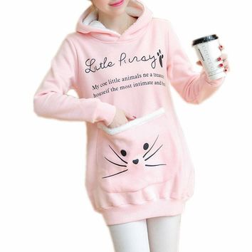 Cat Lovers Women Whiskers Pouch Hoodie