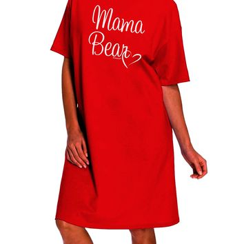 Mama Bear with Heart - Mom Design Dark Adult Night Shirt Dress